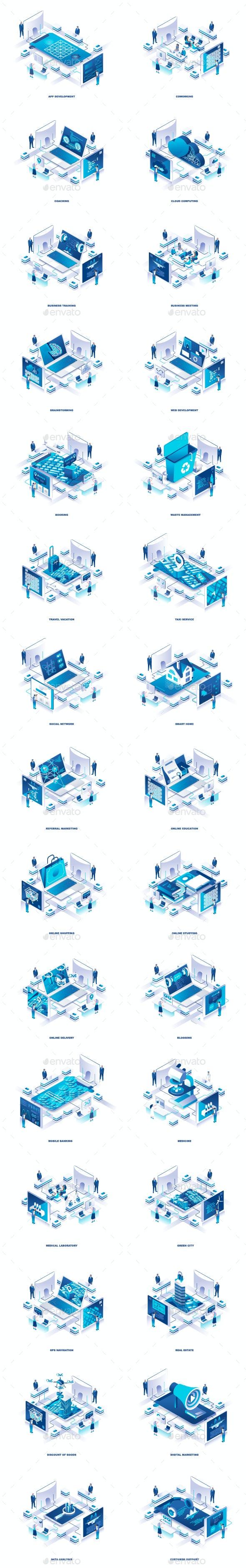 Flat Isometric 3D Illustration - Web Elements Vectors