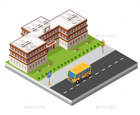 School Isometric Building Study Education - Miscellaneous Vectors