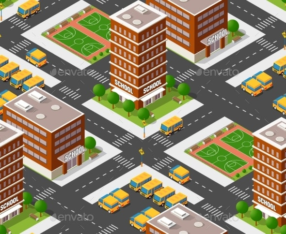 School Isometric Building Study Education - Miscellaneous Vectors