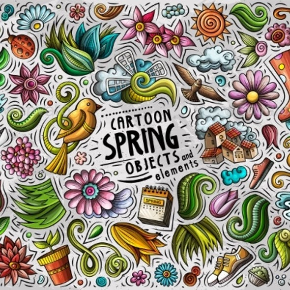 Set of Spring Theme Items, Objects and Symbols