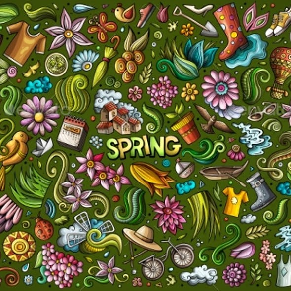 Vector Doodle Cartoon Set of Spring Objects and