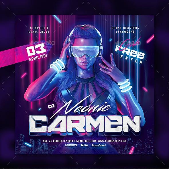 Party Flyer DJ Neonic Carmen