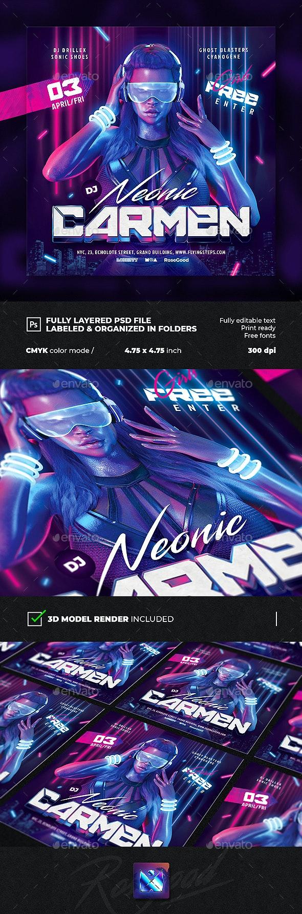 Party Flyer DJ Neonic Carmen - Clubs & Parties Events