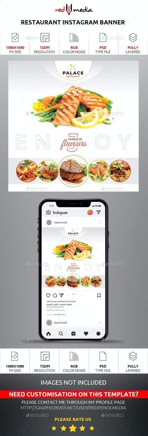 Restaurant Instagram Banner - Social Media Web Elements