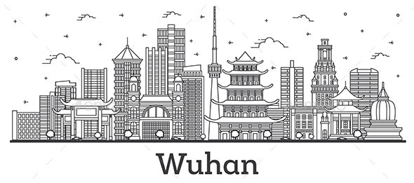 Outline Wuhan China City Skyline with Modern Buildings Isolated on White. - Buildings Objects