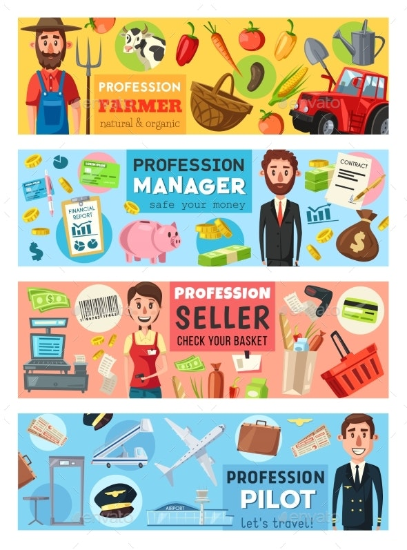 Pilot, Cashier, Manager and Farmer Professions - People Characters