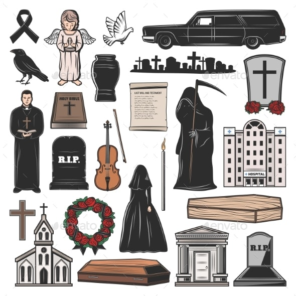 Funeral Icons - Miscellaneous Vectors