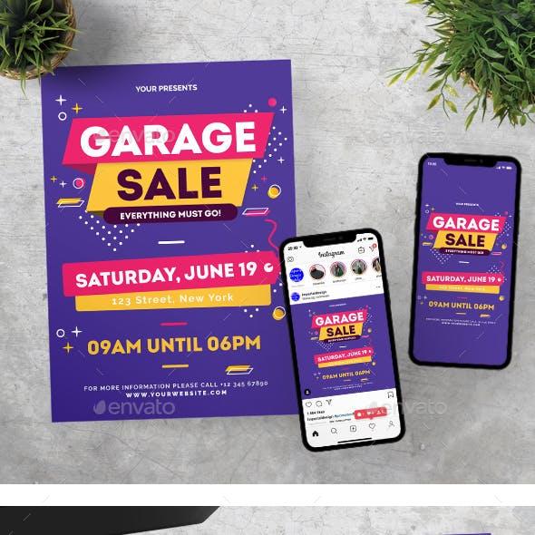 Modern Retro Garage Sale Flyer Instagram Set