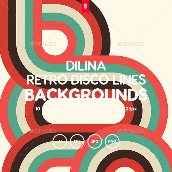 Dilina - Retro Colorful Disco Lines Vector Backgrounds Pack