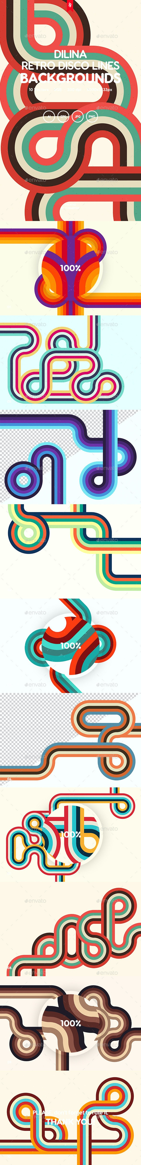 Dilina - Retro Colorful Disco Lines Vector Backgrounds Pack - Abstract Backgrounds