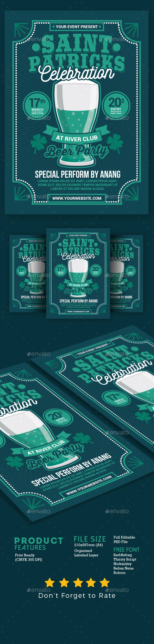 St Patricks Day Beer Party Celebration - Events Flyers