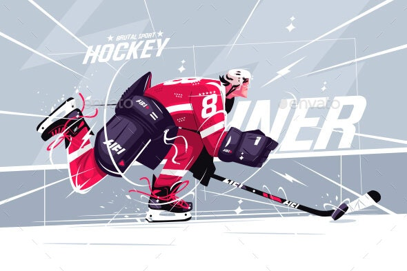 Hockey Player on Ice Field - Sports/Activity Conceptual