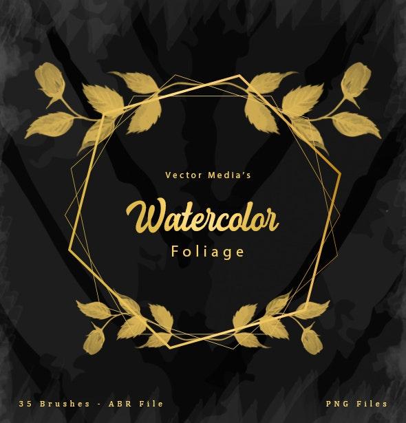 Watercolor Foliage - Photoshop Brushes - Artistic Brushes