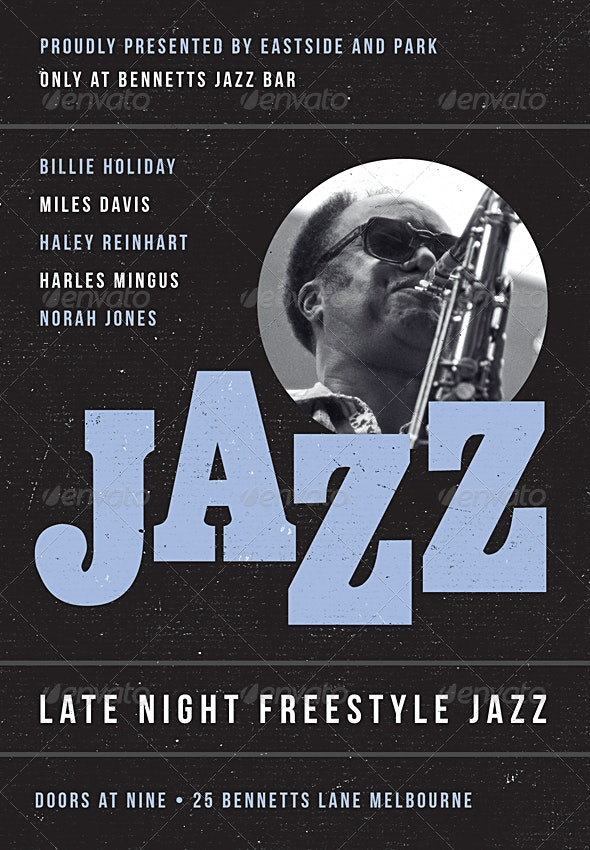 Bluetone - Jazz, Blues and Swing Flyer Template - Concerts Events