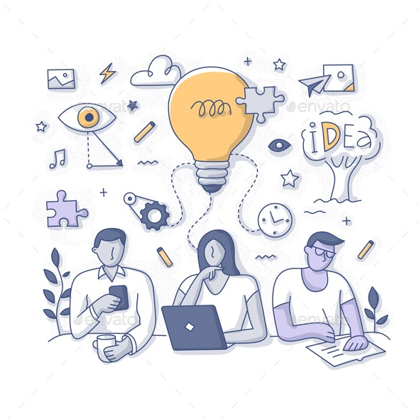 Generation of New Ideas & Solutions Doodle Concept - Miscellaneous Conceptual