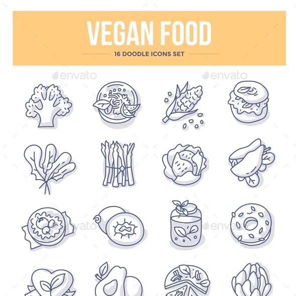 Vegan Food Doodle Icons