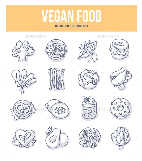 Vegan Food Doodle Icons - Food Objects