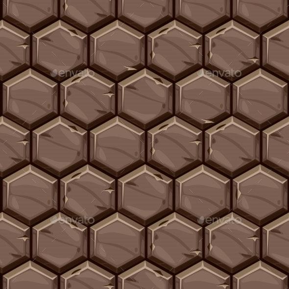 Seamless Pattern Texture of Hexagonal Stone Tiles - Backgrounds Decorative