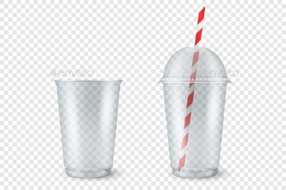 Vector Realistic Empty Clear Plastic Cup - Food Objects
