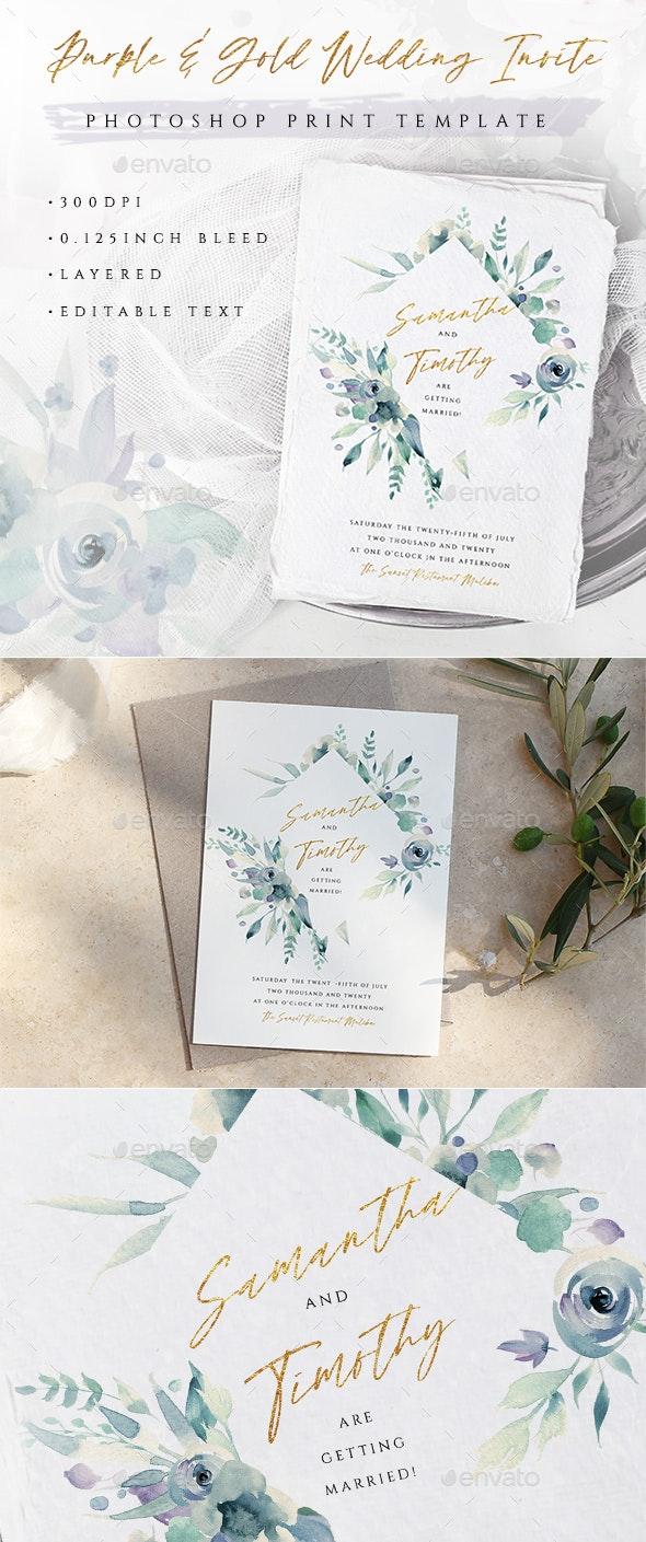 Purple Watercolor Wedding Invite