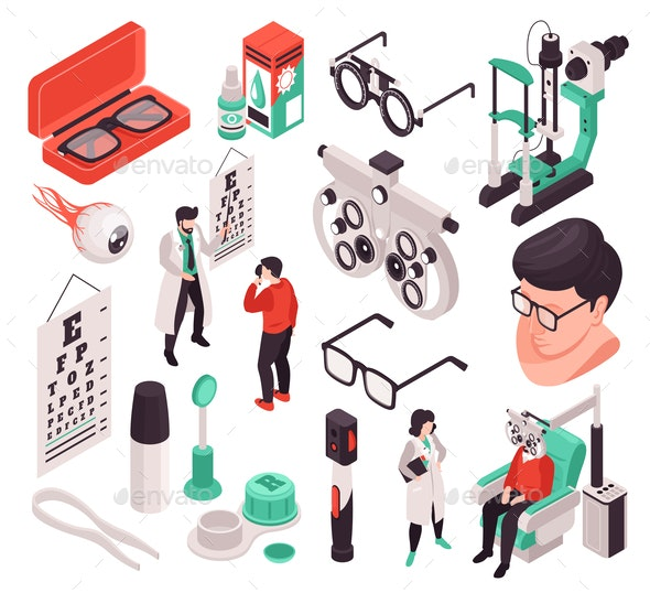 Isometric Ophthalmology Icon Set - Health/Medicine Conceptual
