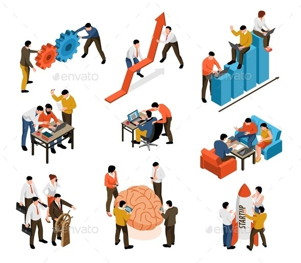 Teamwork Isometric Set - Business Conceptual