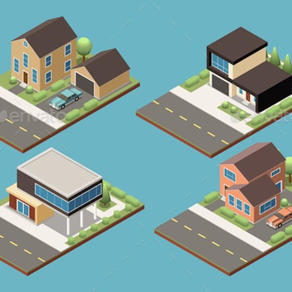 Suburban Buildings Isometric Collection