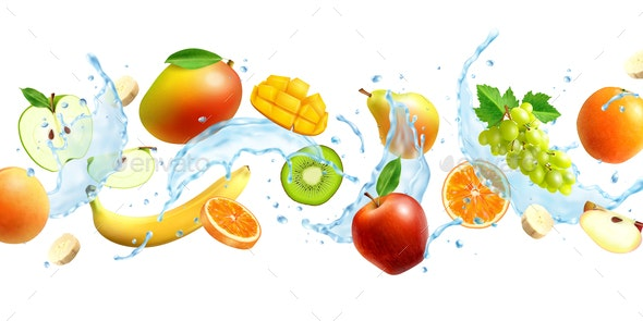 Realistic Horizontal Fruits Background - Food Objects