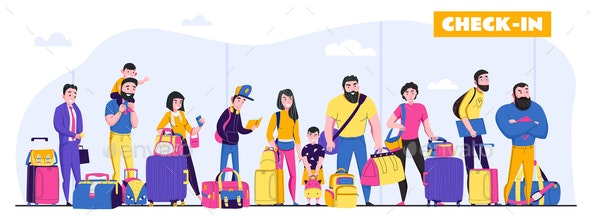 Family Vacation  Illustration - Travel Conceptual