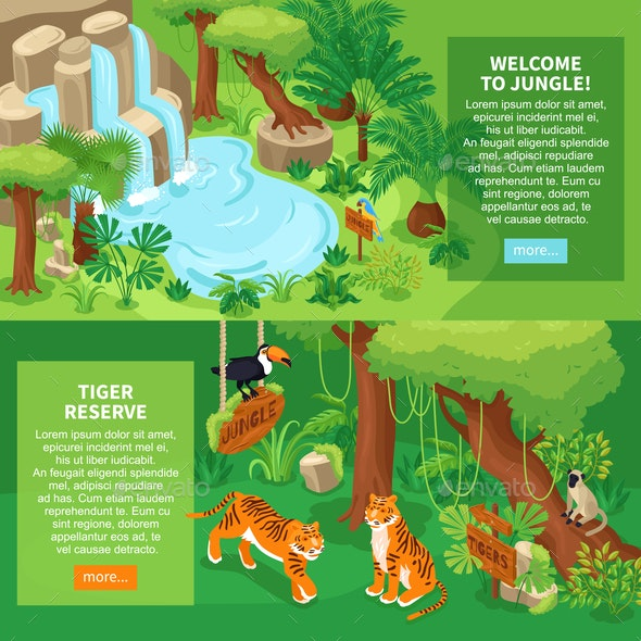 Jungle Tigers Horizontal Banners - Flowers & Plants Nature