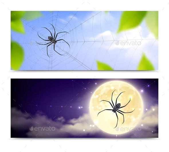 Realistic Black Spiders Banner Set - Animals Characters