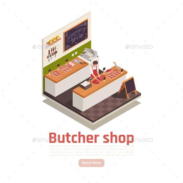 Butcher Shop Isometric Composition