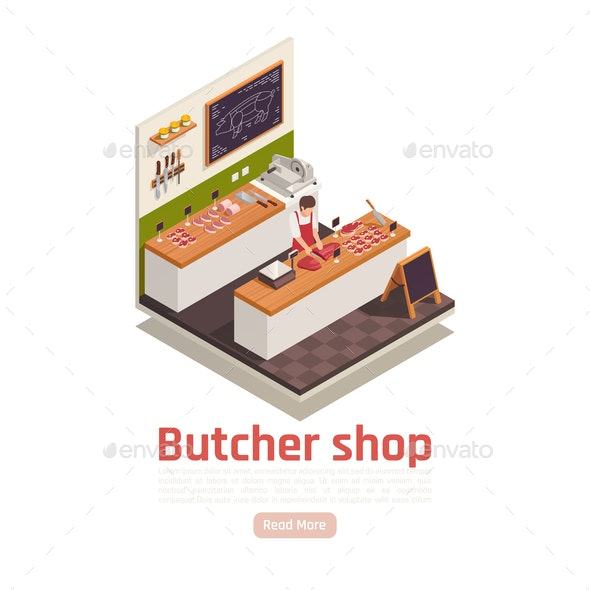 Butcher Shop Isometric Composition - Food Objects