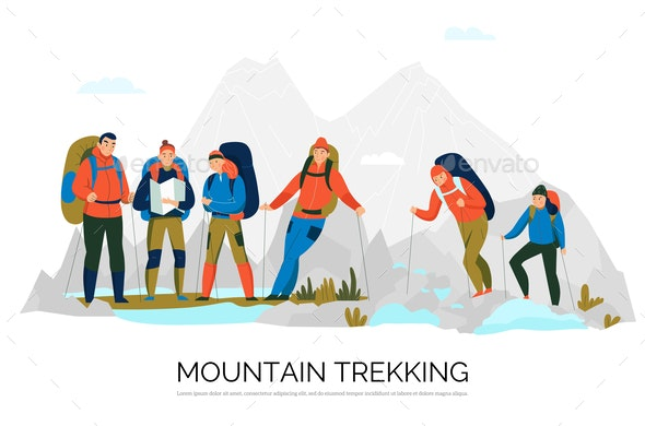 Camping Hiking Tourism Composition - Sports/Activity Conceptual