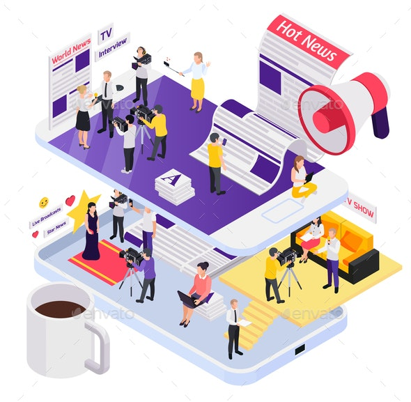 Journalistis Reporters News Media Isometric Composition - Media Technology
