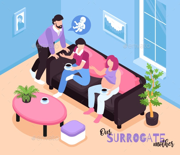 Surrogate Mother Isometric Composition - People Characters