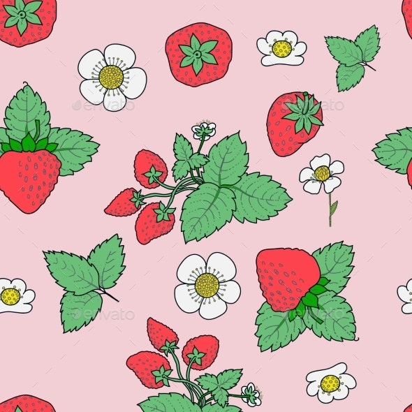 Vector Strawberry Seamless Pattern Background - Flowers & Plants Nature