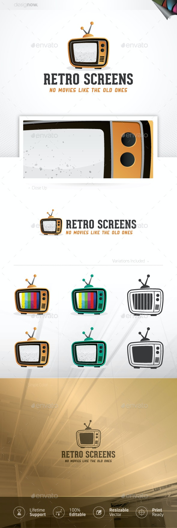 Retro TV Logo - Objects Logo Templates