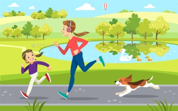 Mother and Daughter Jogging with Dog - Sports/Activity Conceptual