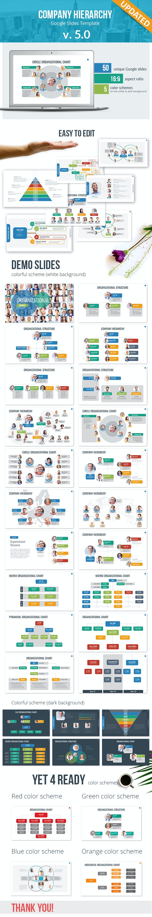 Organizational Chart and Hierarchy Google Slides Template - Google Slides Presentation Templates