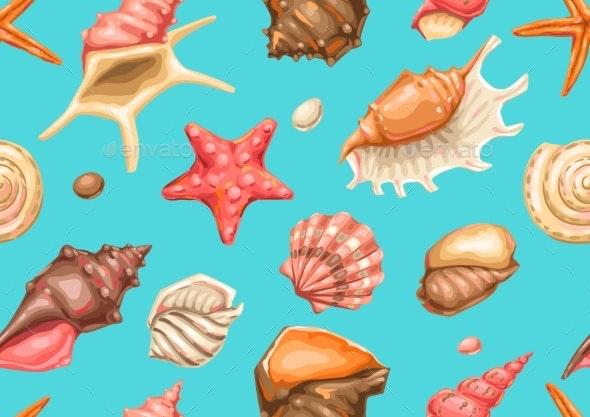 Seamless Pattern with Seashells - Organic Objects Objects