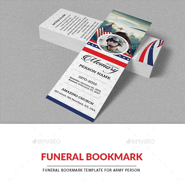 Funeral Bookmark Template for ARMY