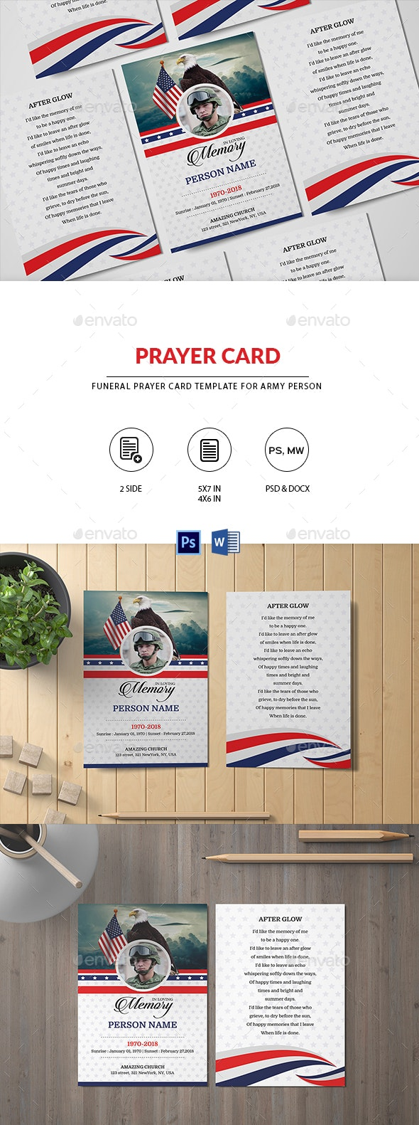 Funeral Prayer Card Template for ARMY - Cards & Invites Print Templates