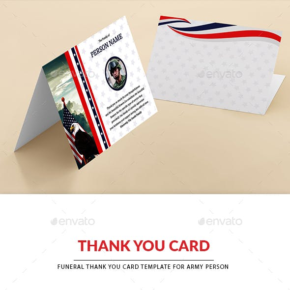Funeral Thank you Card Template for ARMY