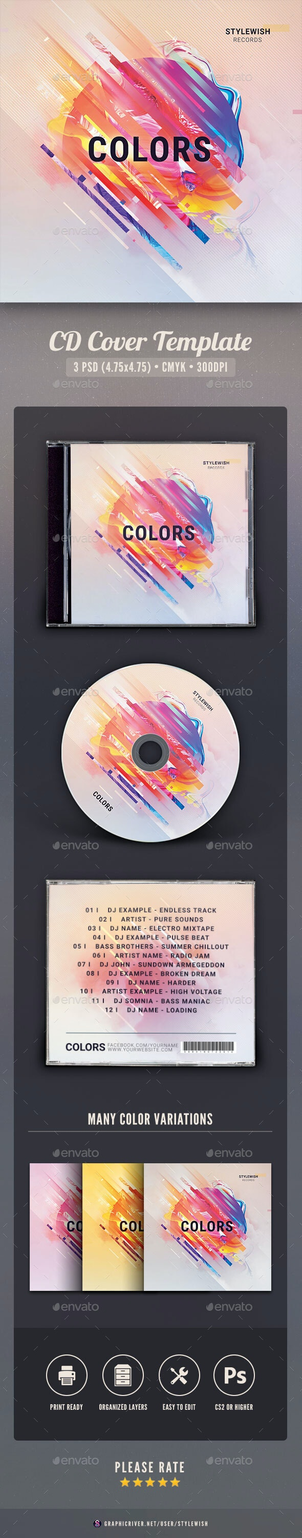 Colors CD Cover Artwork - CD & DVD Artwork Print Templates
