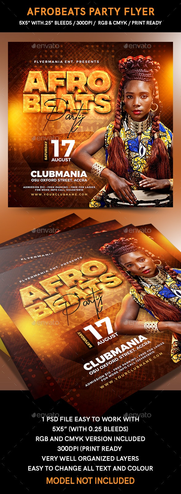 Afrobeats Party Flyer - Events Flyers