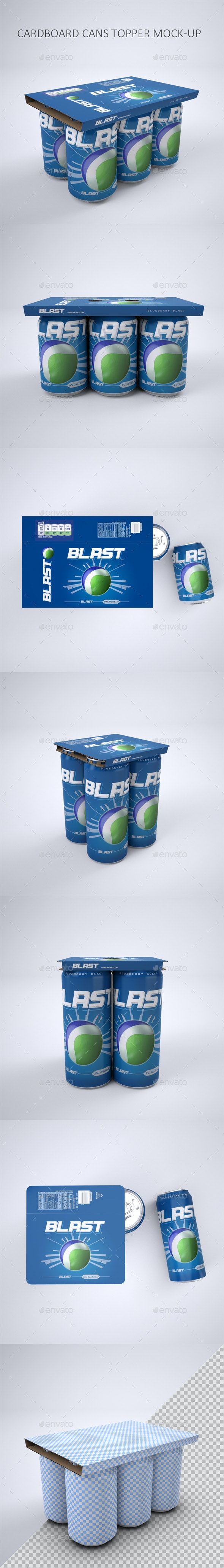 Cardboard Topper for Beverage Cans Mock-Up - Food and Drink Packaging