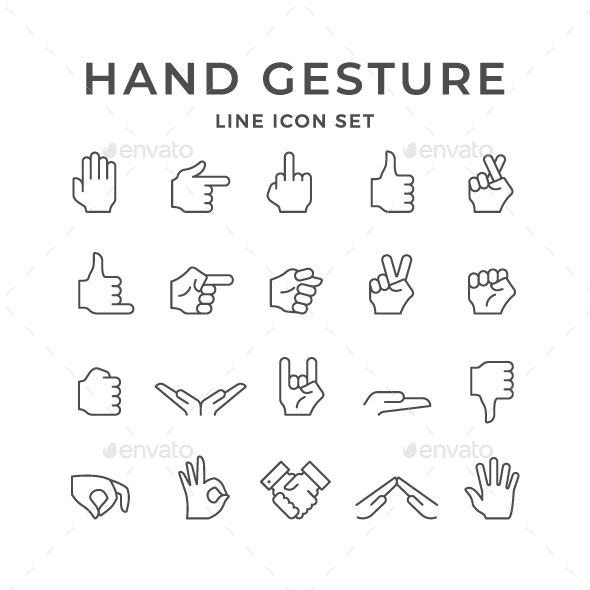 Set Line Icons of Hand Gesture - Man-made objects Objects