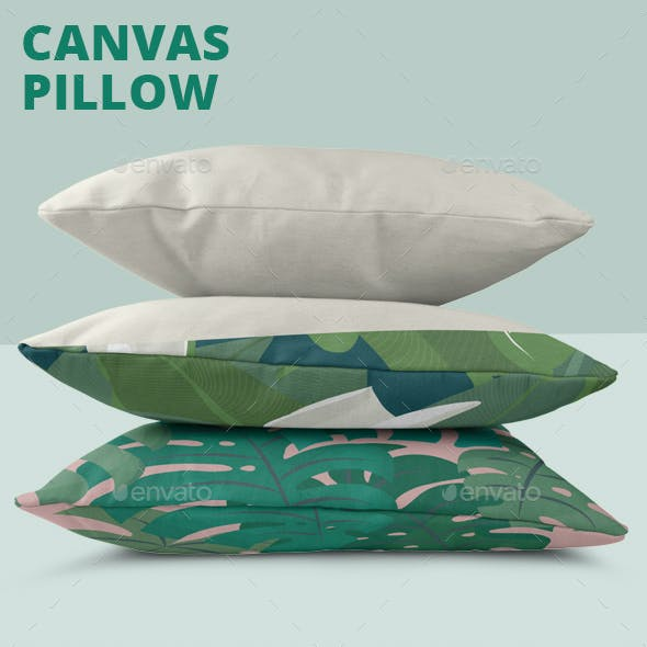 Realistic Canvas Pillow Mock-Up
