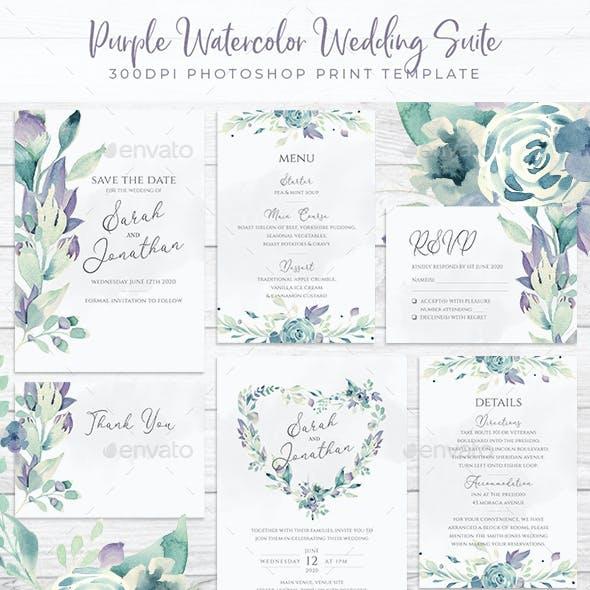 Purple Watercolour Wedding Suite